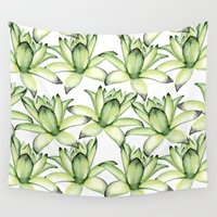 succulents Wall Tapestries featuring Succulents by Julia Badeeva