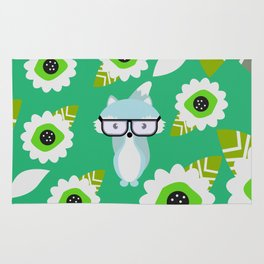 Little fox and strange flowers in green Rug