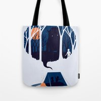 scary Tote Bags featuring Scary story by SpazioC