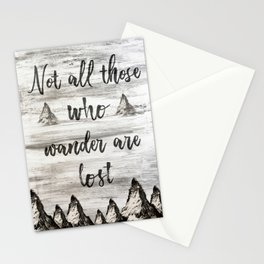 Not All Those Who Wander Are Lost-Matterhorn Swiss Alps-Typography Stationery Cards