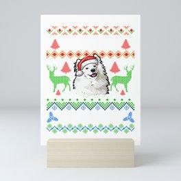 Merry Woofmas Ugly Sweater Samoyed Mini Art Print