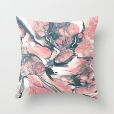 Coral and Navy Marble Throw Pillow