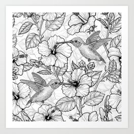 Hummingbirds and hibiscus flowers Art Print