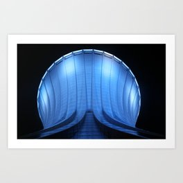 Blue Watertower at night Art Print