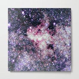 Pink Lavender Sparkle Stars Metal Print