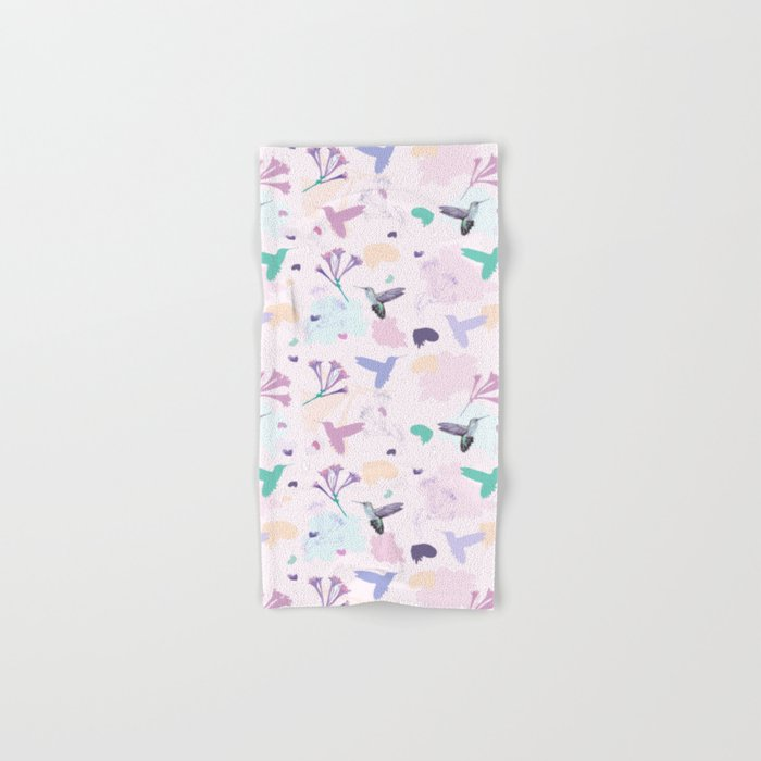 Hummingbird and flower pastel petal pattern Hand & Bath Towel