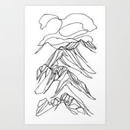 Ymir Mountain Ridges :: Single Line Art Print
