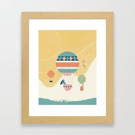 Travel in a Coffee Hot Air Balloon Framed Art Print