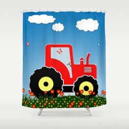 Red tractor in a field Shower Curtain