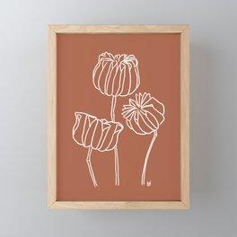 Seed Pods Botanical Print (White and Terracotta) Framed Mini Art Print