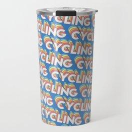 Cycling Trendy Rainbow Text Pattern (Blue) Travel Mug