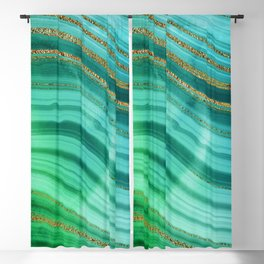 Ocean Blue And Green Mermaid Glamour Marble Blackout Curtain