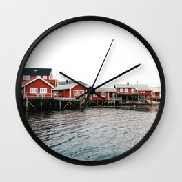 Palafittes in Norway Wall Clock
