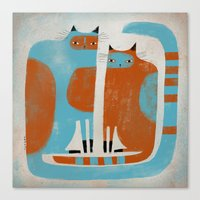 TWO CATS WAITNG Canvas Print