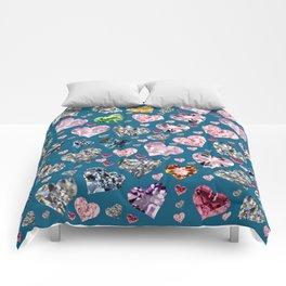 Heart Diamonds are Forever Love Blue Comforters