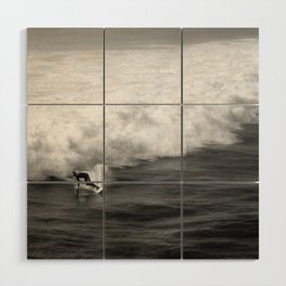 Lone Surfer in Black and White Wood Wall Art