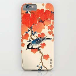 Vintage Japanese Bird and Autumn Grapevine iPhone Case