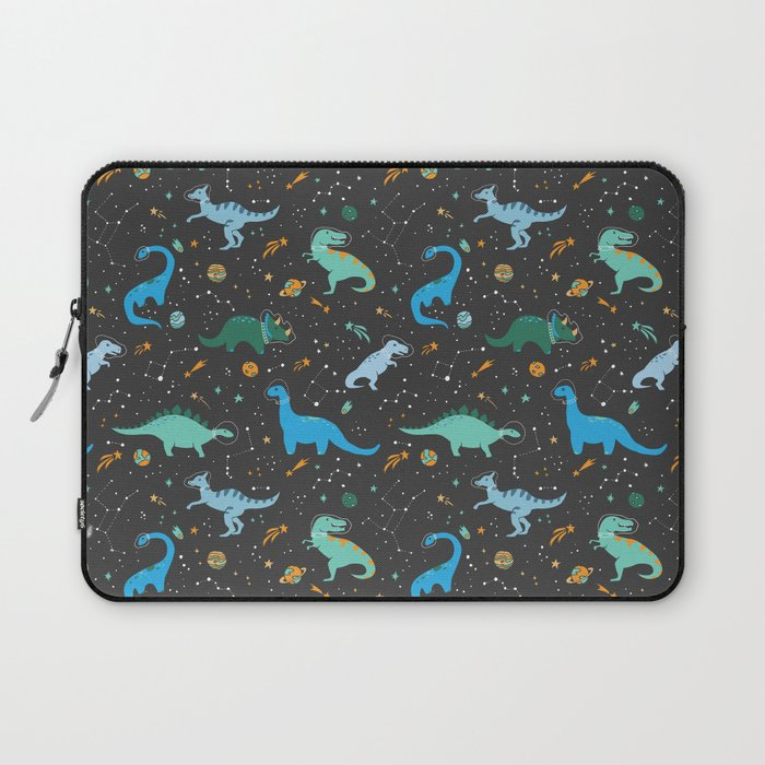 Dinosaurs in Space in Blue Laptop Sleeve