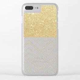Modern gold ombre chevron stitch pattern Clear iPhone Case