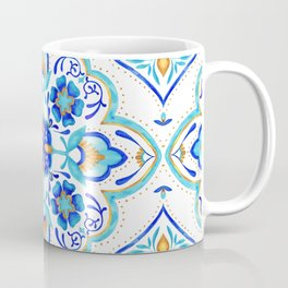 Hand Painted Moroccan Tiles - Aqua and Gold Coffee Mug