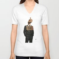 unicorn V-neck T-shirts featuring Unicorn by rob art | illustration