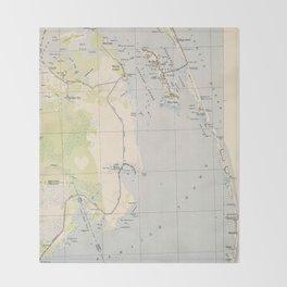 Vintage Map of Roanoke Island & Outer Banks NC Throw Blanket