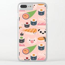 Kawaii sushi light pink Clear iPhone Case