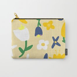 Yellow and Blue Daisy May Pattern Carry-All Pouch
