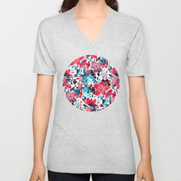 Happy Red Flower Collage Unisex V-Neck