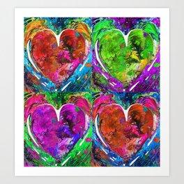 Colorful Pop Hearts Love Art By Sharon Cummings Art Print