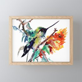 Hummingbird and Orange Flowers, tropical Olive green Framed Mini Art Print
