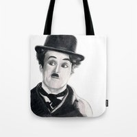 charlie chaplin Tote Bags featuring Charlie Chaplin by Art by Boothe