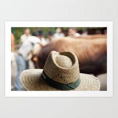 Hat & Cow Art Print