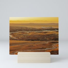 Glowing sunset landscape of Petrified Forest National Park Mini Art Print