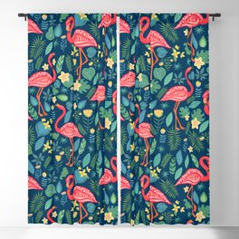 Flamingo Blue Pattern Blackout Curtain