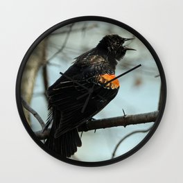Red Winged Black Bird Calling Wall Clock