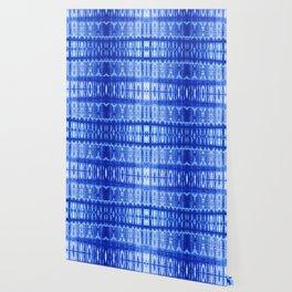 tie dye ancient resist-dyeing techniques Indigo blue textile abstract pattern Wallpaper