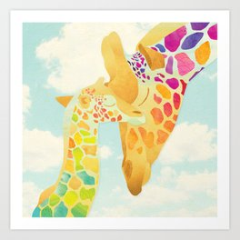 Shanti Sparrow: Harriet & Henry the Giraffes Art Print