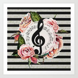 Treble Clef with Watercolor Roses Art Print