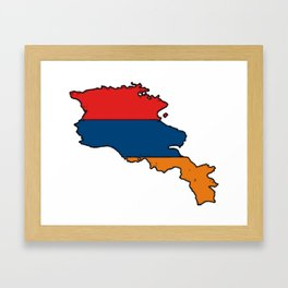 Armenia Map with Armenian Flag Framed Art Print