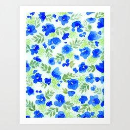Floret (Blue) Art Print