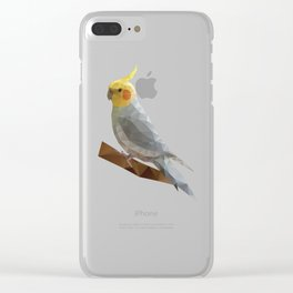 Yellow Cockatiel Bird Polygon Art Clear iPhone Case