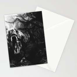 Black and white Jurassic period Stationery Cards