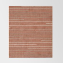 Geometric Art, Colorful Stripes Mudcloth, Terracotta Throw Blanket