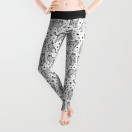 Wolves and Stars on White Leggings