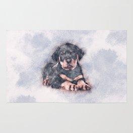 Rottweiler Puppy Sketch Paint Rug