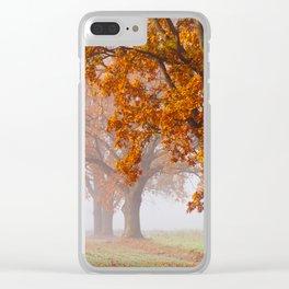 Oaks in the misty Autumn morning (Golden Polish Autumn) Clear iPhone Case