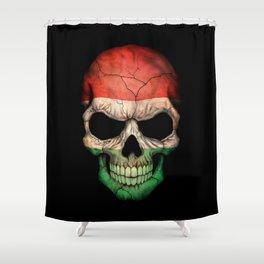Dark Skull with Flag of Hungary Shower Curtain