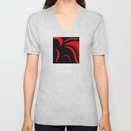 Abstract Red Unisex V-Neck