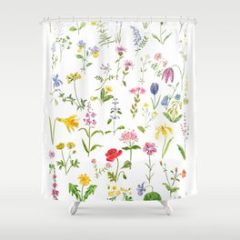 botanical colorful countryside wildflowers watercolor painting Shower Curtain